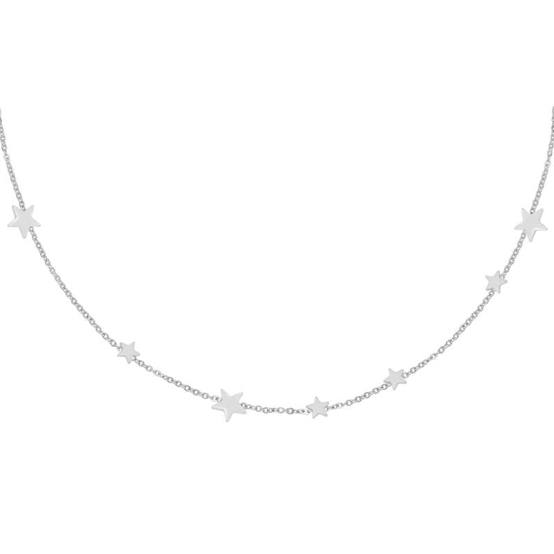 Row stars necklace silver