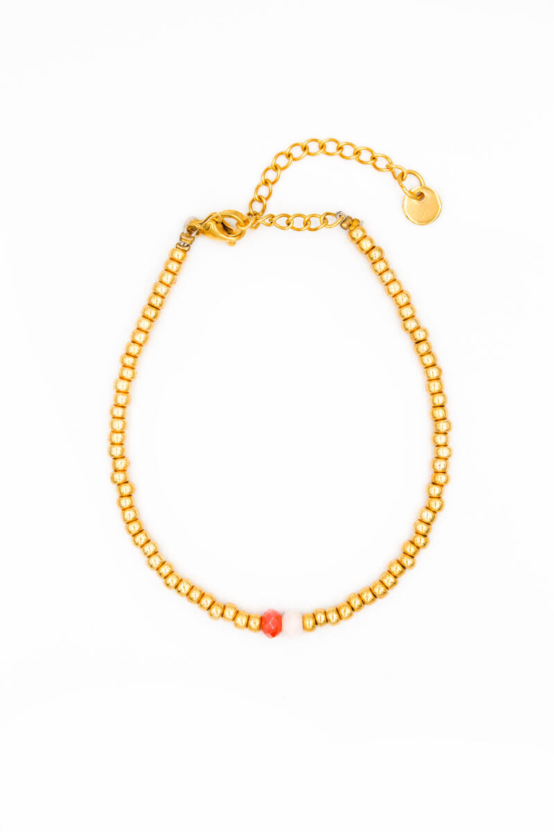 Golden bracelet facet stones