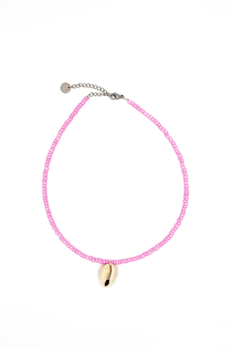 One shell necklace pretty pink silver