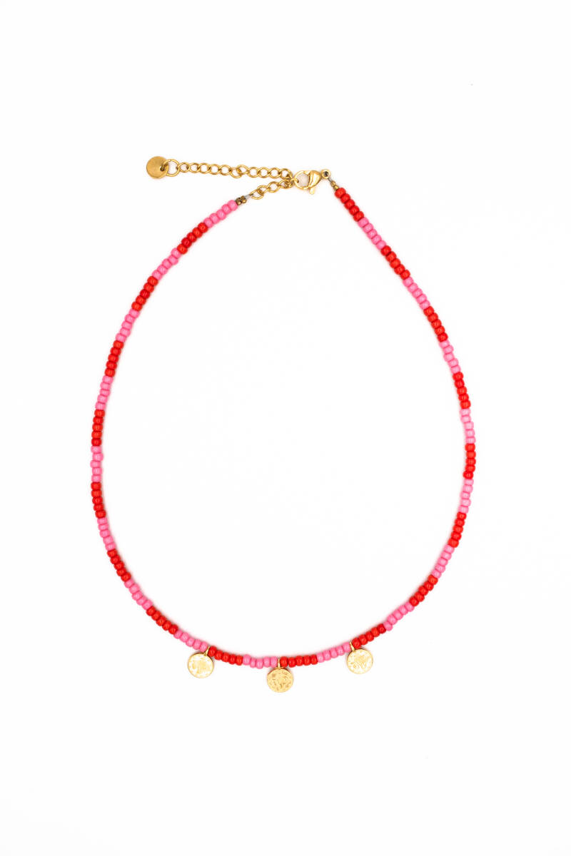 3 gold coins necklace pink red