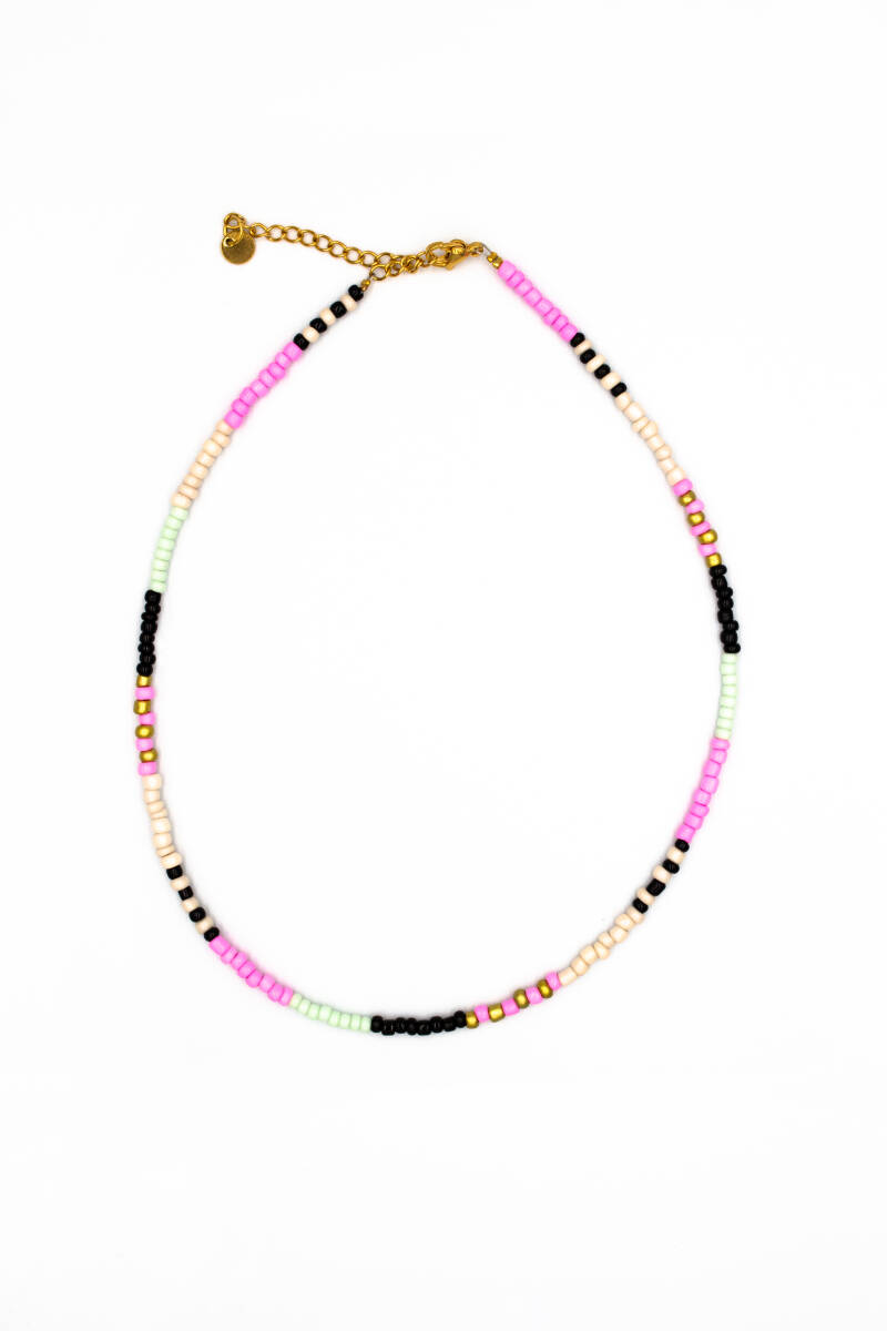 Colourful stripes necklace gold