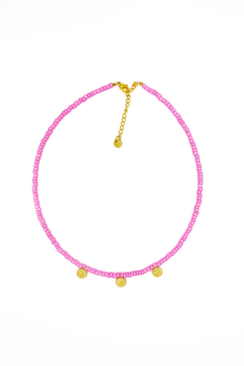 3 gold coins necklace pretty pink