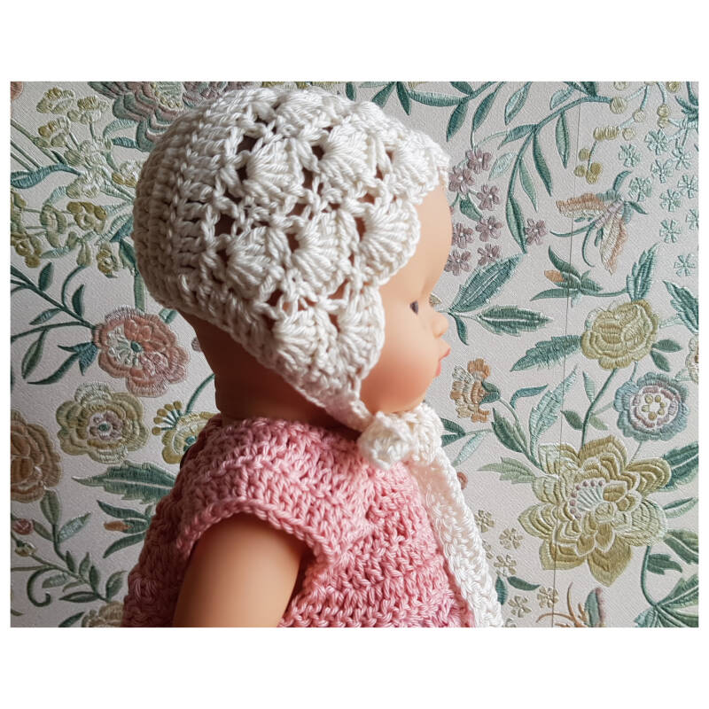 Lace bonnet Bridal White
