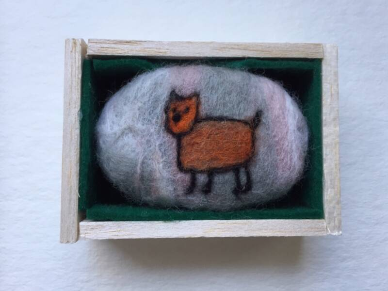 Felted soap cat