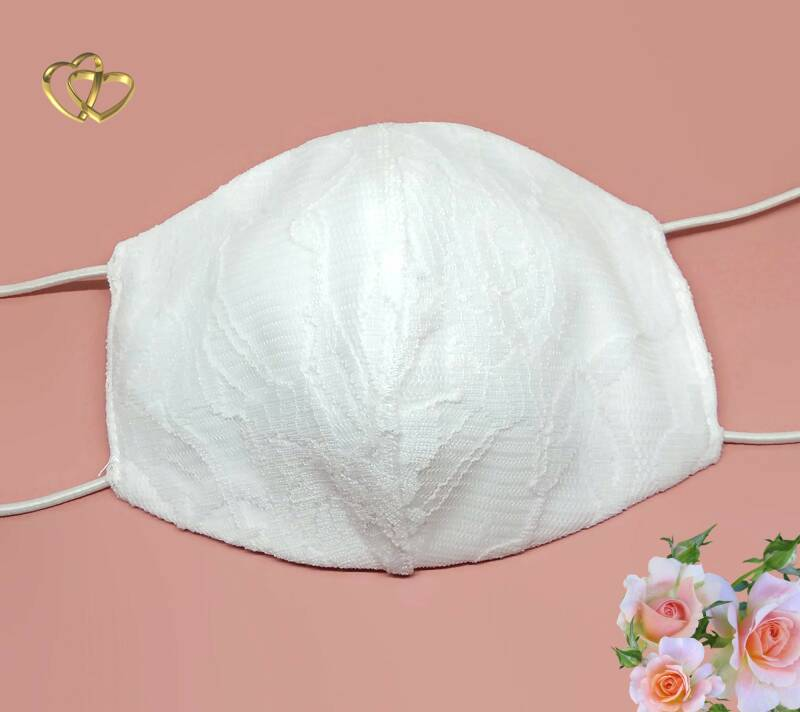 Bridal face mask with lace M03