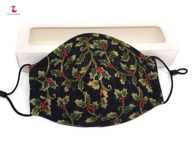 Christmas face mask black with holly plant KM05