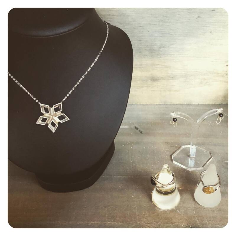 silver star necklace, with golden solder