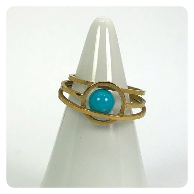 Up under gold plated ring with turquoise