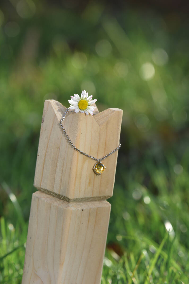 silver necklace with citrine