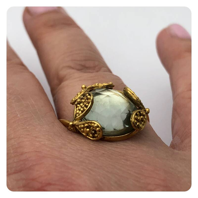 Gold-plated ring with large prehnite