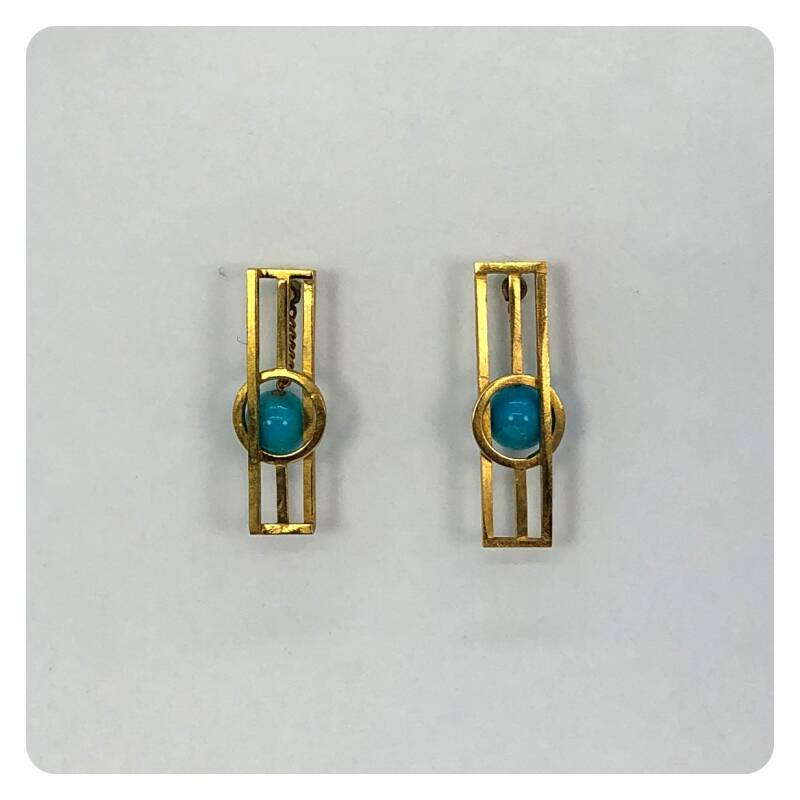Gold plated earrings with turquoise
