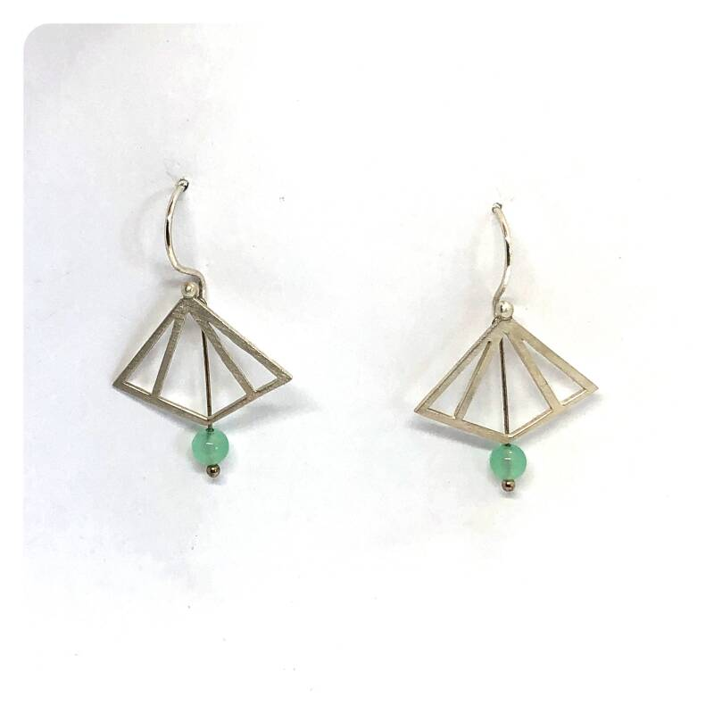 geometrical silver earrings with chrysoprase