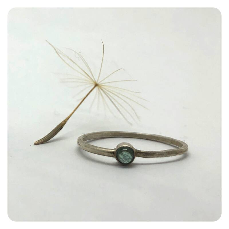 Delicate silver ring with green tourmaline