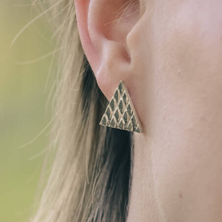 triangle silver  ear studs with print