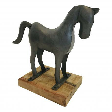 Horse on stand steel H30cm