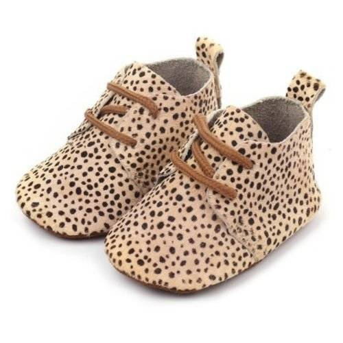 Baby Mocassins Leather Leopard Dots