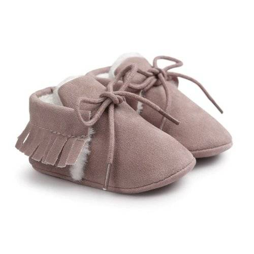 Baby Mocassins Furry Suède Old Pink
