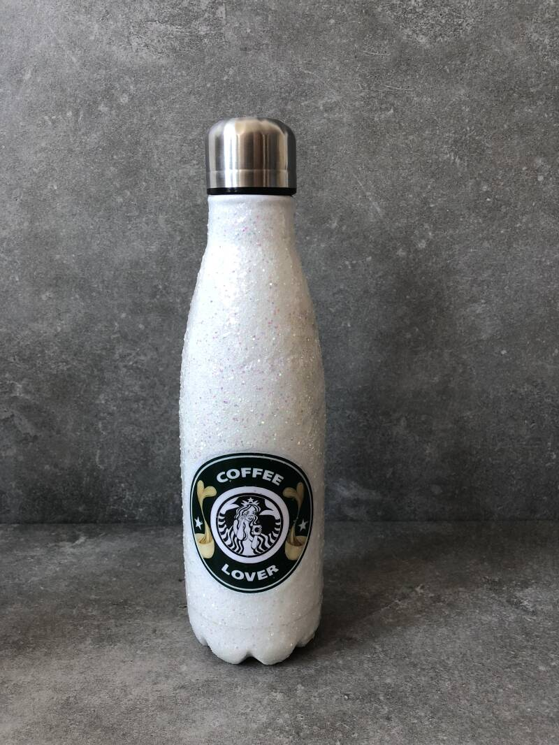 White glitter coffee lover thermos petfles