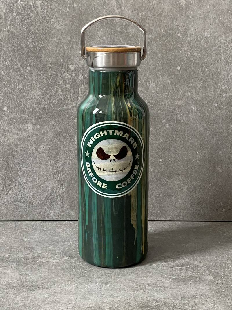 YOURS 'Nightmare before coffee' thermos drinkfles (Starbucks redesign)