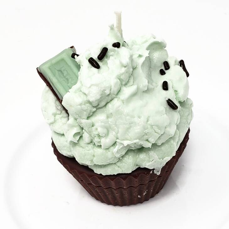Cupcake Candle Chocolate Mint