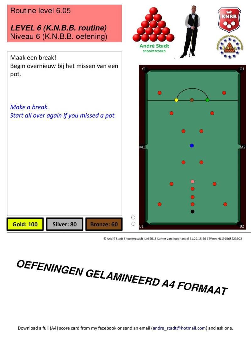 Snooker oefeningen gelamineerd A4 formaat