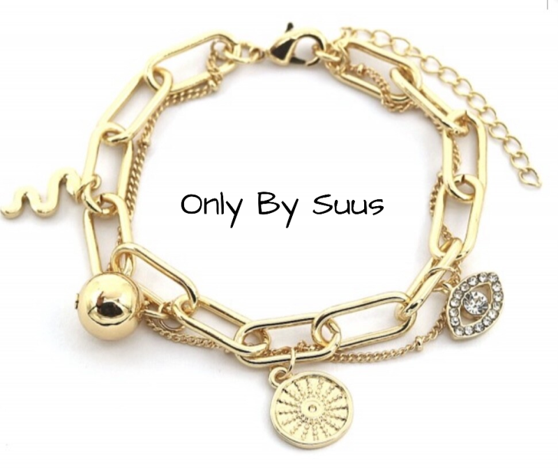 Bracelet Gold 'Chain & Charms'