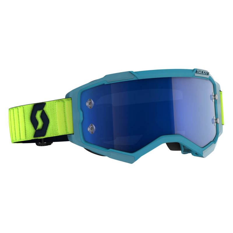 Scott Fury Crossbril Teal Blauw/Neon Geel (Electric blauw chrome works lens)