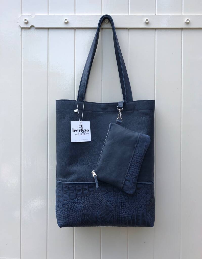 Tote bag donkerblauw incl. make-up tas 02