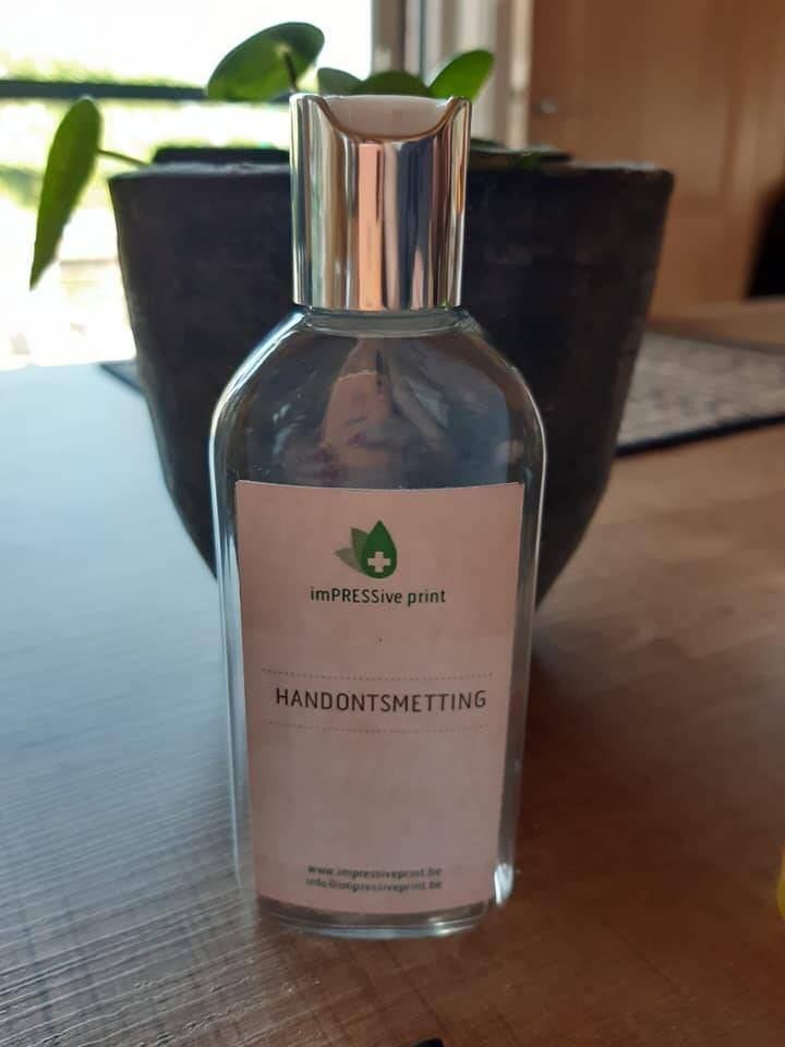 100 ml desinfecterende Handalcohol (70pc alcohol) in Transparante fles met witwip dopje (Disc-Top) deluxe