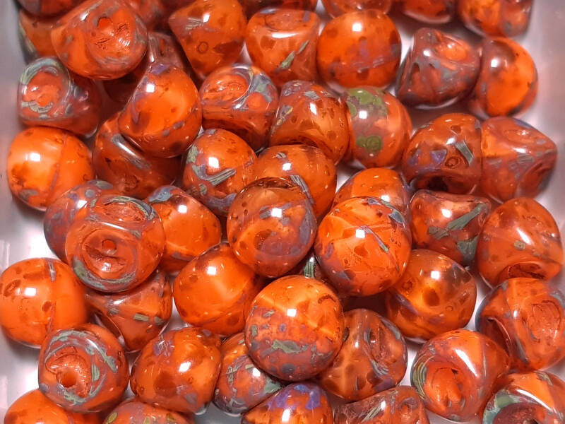 Mushroom button beads Orange Picasso