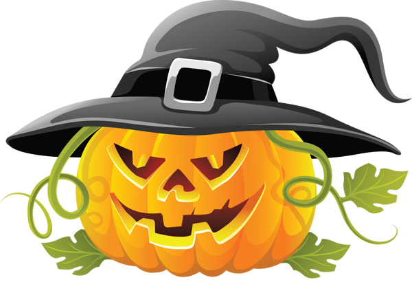 Large_Transparent_Halloween_Pumpkin_with_Witch_Hat_Clipart.png