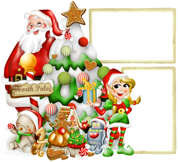 Transparent_Christmas_PNG_Photo_Frame_with_Elf_and_Santa_Claus.png