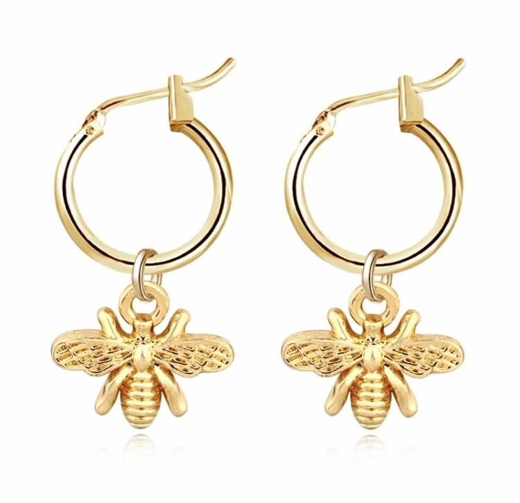 Gold Bee Oorbellen
