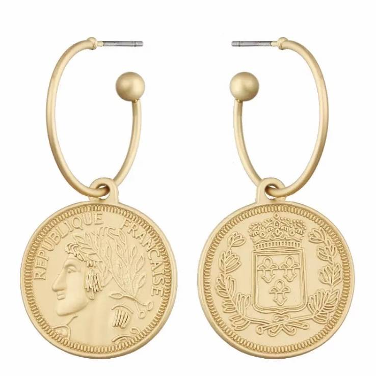 French Coin Earrings