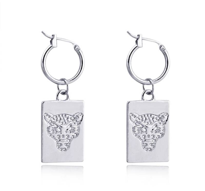 Silver Lion Plated Earrings