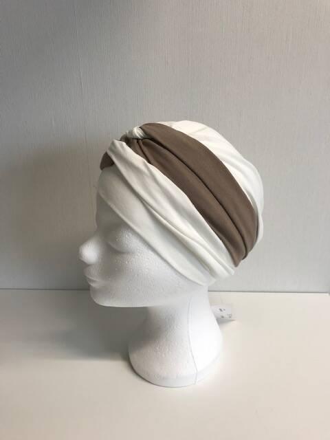 Tulband wit/beige