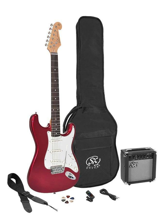 SX Guitars SE1SK34CAR Candy Apple Red 3 kwart elektrisch gitaarpakket