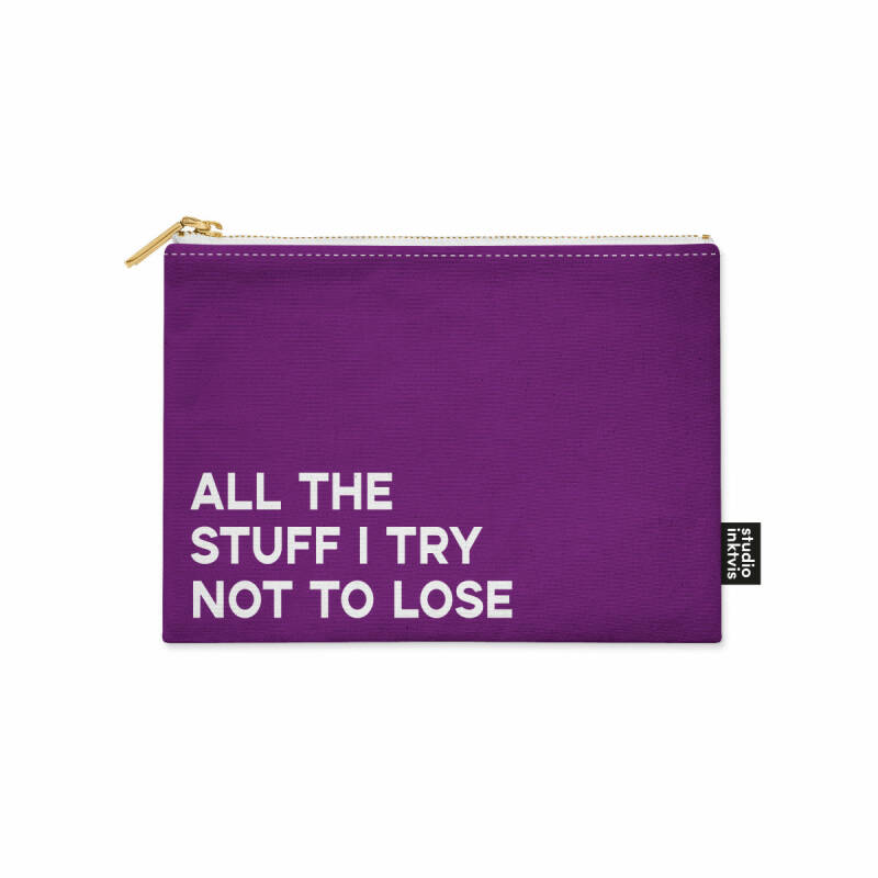 Canvas etui I try not to lose paars | Studio Inktvis