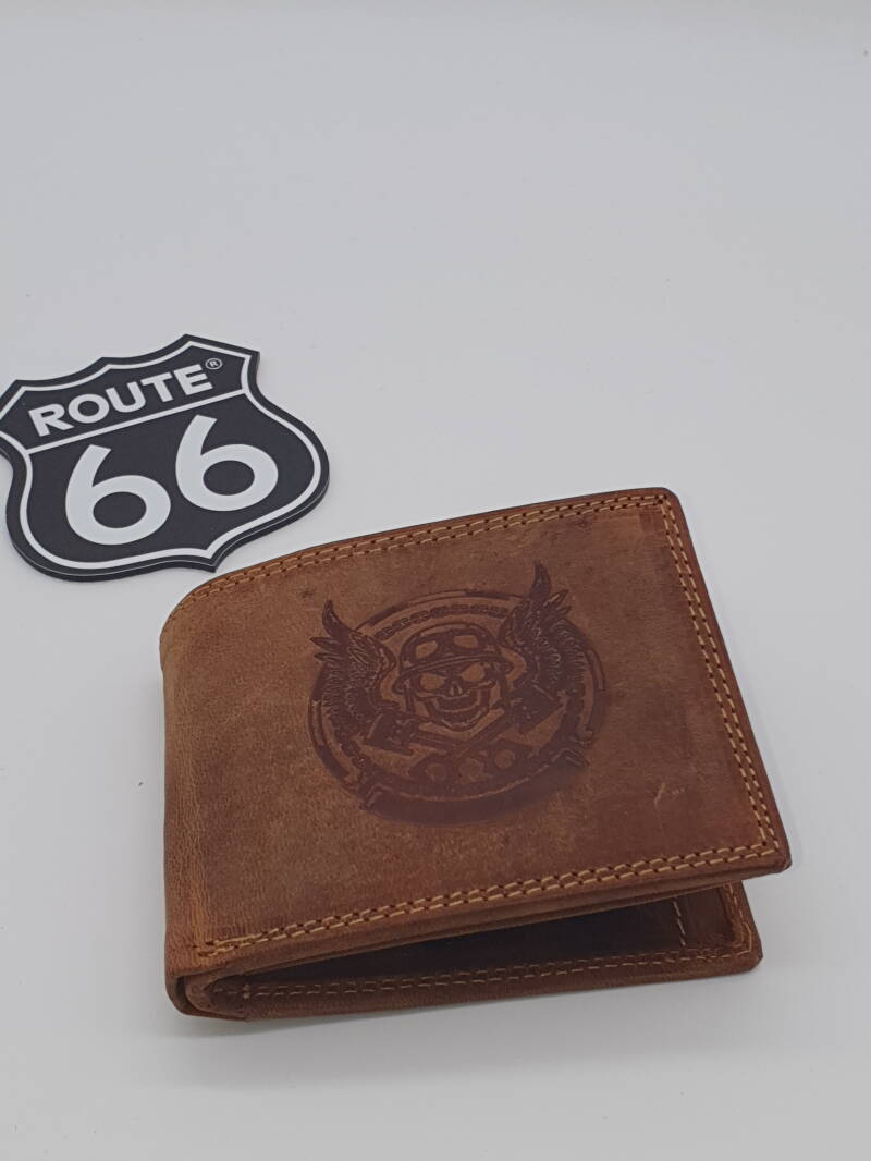 Lederen beurs / Leather wallet biker