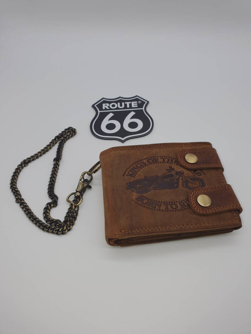 Lederen beurs/ketting / Leather wallet/chain king