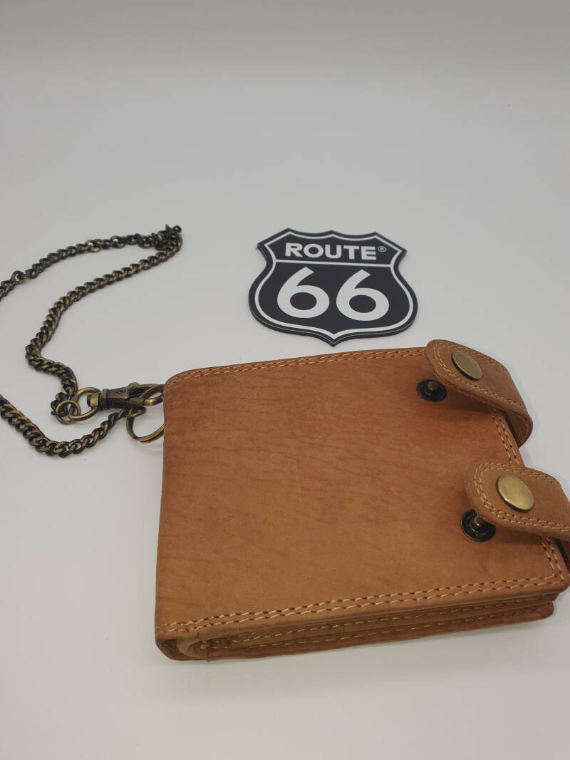 Lederen beurs/ketting / Leather wallet/chain