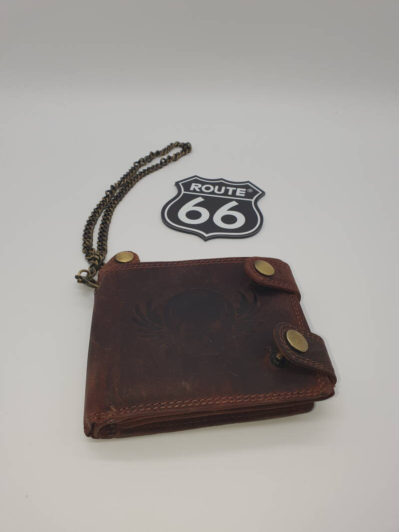 Lederen beurs/ketting / Leather wallet/chain skull