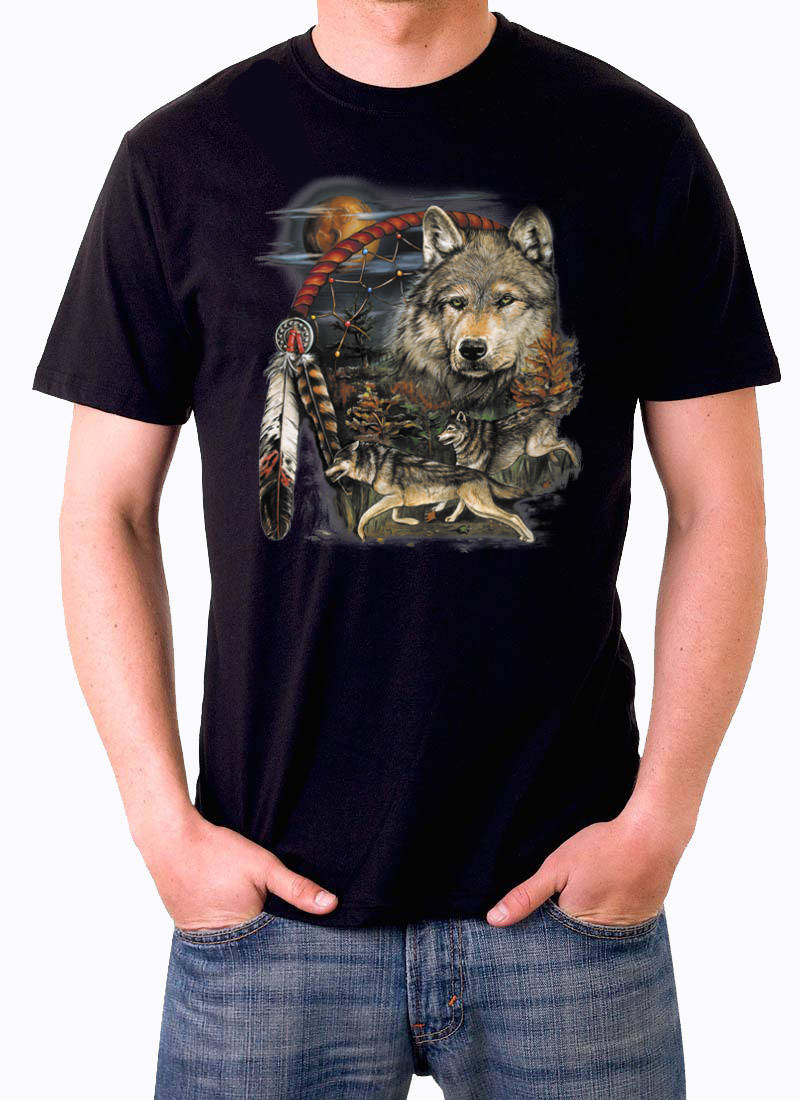 T shirt Wolf met Dreamcatcher