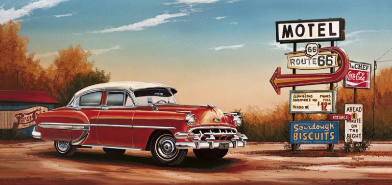 Poster Chevy by motel sign