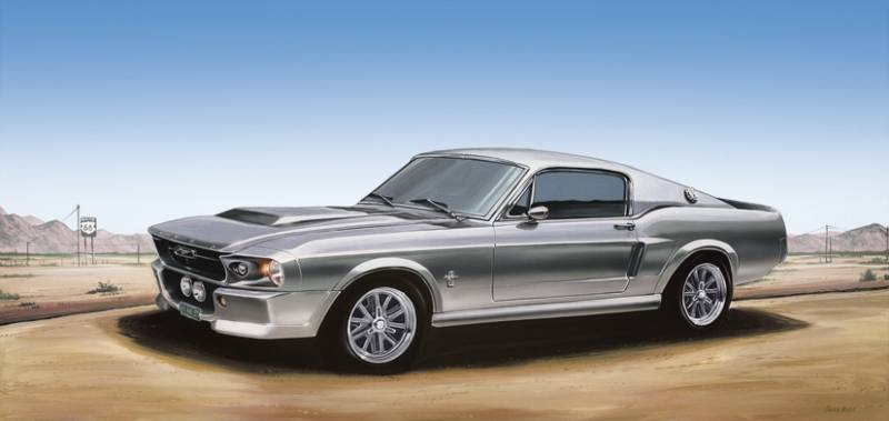 Poster Ford Mustang zilver