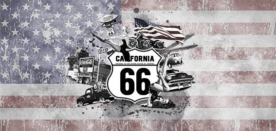 Poster Route 66 / USA vlag