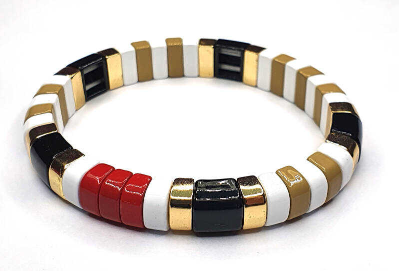 Armband White, Black, Gold & Red
