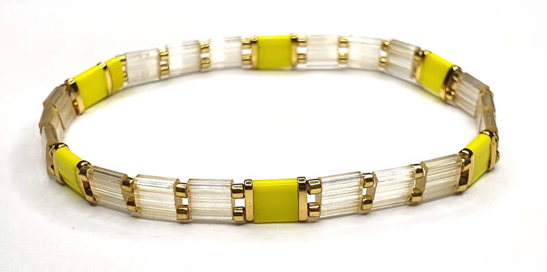 Armband White & Yellow