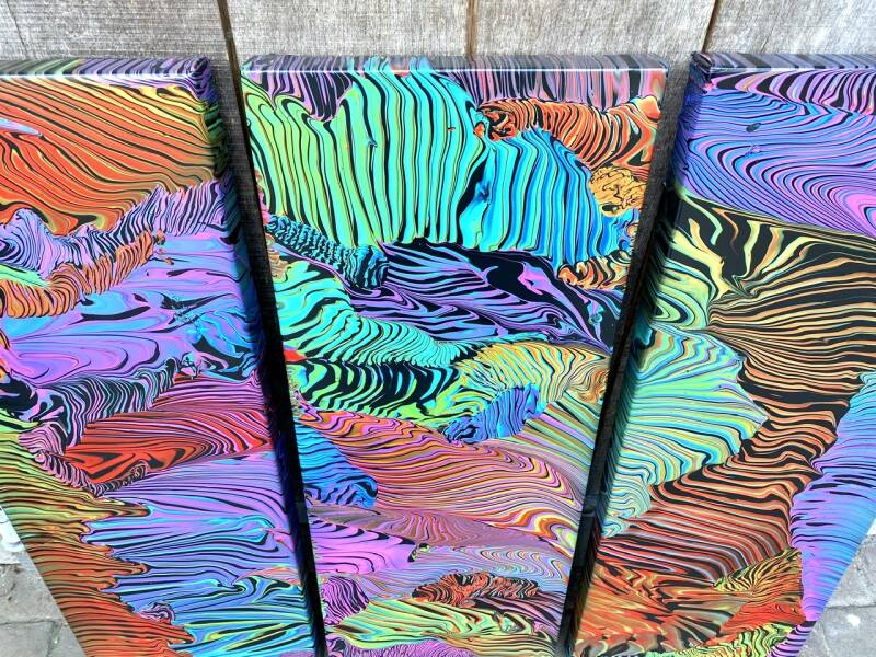 'Candy Coral' triptych 30x80