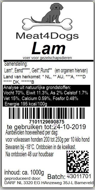 meat 4 dogs lam (1 KG)